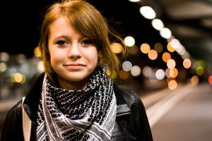 My sister with bokeh 1 by Noleime
