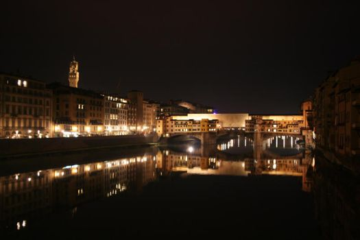 Ponte Vecchio at Night by Ohpebacco