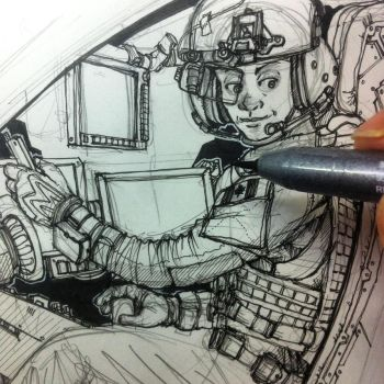 Work in Progress no. 2 Untitled Female Pilot by KRONOMATIK