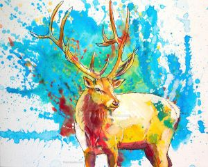 The Forest Wanderer - Elk acrylic painting