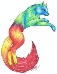 Rainbow Wolf by LARvonCL