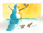 Snowman and Birds Card3 by ChovexaniArt