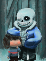 Frisk and Sans by TheDrumMajor