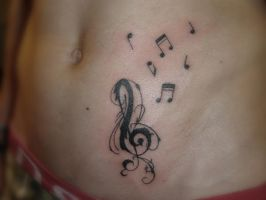 Music notes on side belly by ravenwarlock