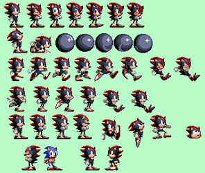Shadow The Hedgehog in Sonic 1 Style by RatherNoiceArt