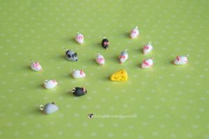 Rat army, polymer clay miniature rat charms by NoirArt