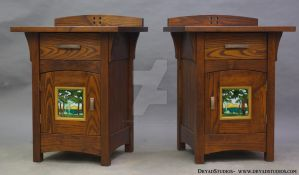 Porteous Tile - Green Forest Nightstands by DryadStudios