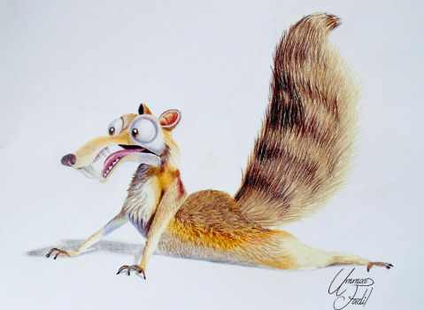 Scrat from the movie Ice age - Colored pencils. by f-a-d-i-l