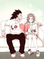 Matching outfits Gajeel X Levy by raspberryOo