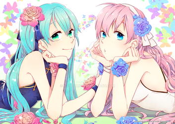 miku and luka by kthelimit