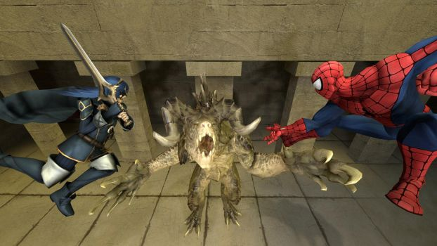 Lucina and Spider-Man meet a Deathclaw by kongzillarex619