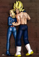 Commission for Dizrene, Vegeto + Android 18 (5) by ToniBabelony