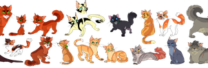 Random warrior cats designs by FireKittehz