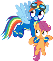Rainbow Dash Fillynapping Scootaloo by SpellboundCanvas