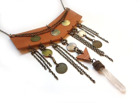 Festival Leather Necklace II - Leather and Quartz by i-am-enrooted