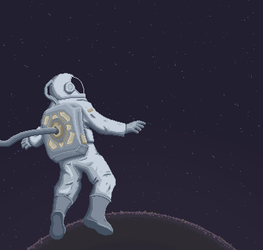 Astronaut in space by Toomanypenguins