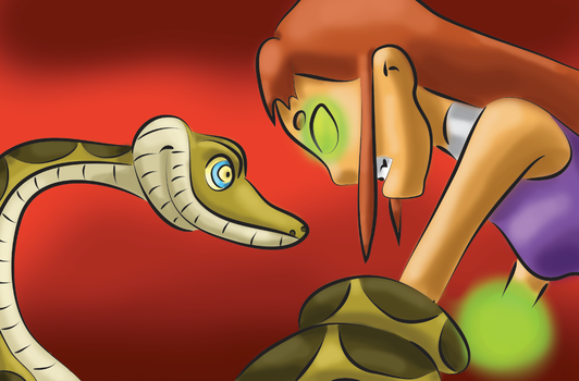 Request: Starfire vs Kaa by snoopgirl