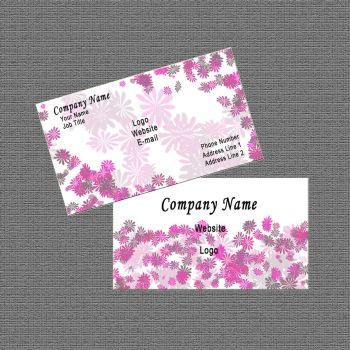 Business Card Design: White/Pink Abstract Floral by Carmenole