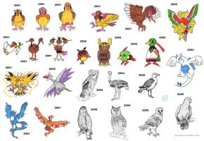 Bird sketches by Fractalico