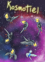 Cockatiels floating in space doing nothing by Kosmotiel