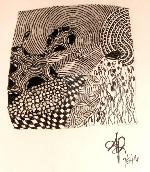 Practice Zentangle Tile by adrimarie