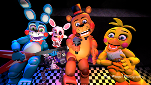 Toy Freddy, Toy Bonnie, Toy Chica, Mangle poster by PlexWinger