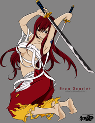 Sexy Erza Scarlet coloring by destelart