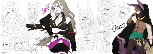 Deadly Sins: Sketch Pages 2 by yhviia-adopts