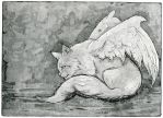 Angel cat, Hand pulled Etching + Aquatint work