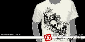 skulls and lilies tshirt by mclf