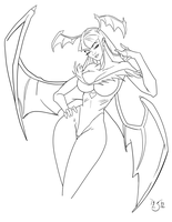 Morrigan portrait WIP by DavidSerret