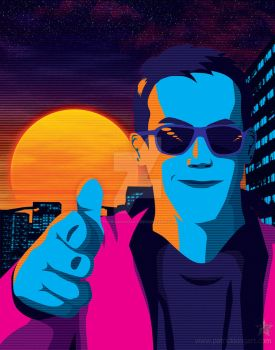Synthwave Guy by patrickkingart
