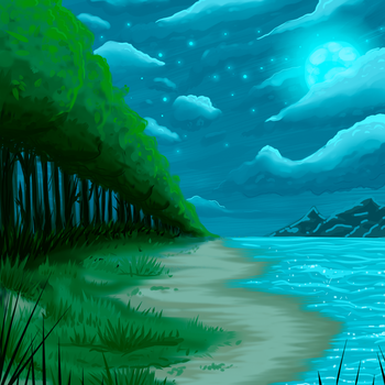 Moonlit Beach Scene (From Ryky Tutorial) by Goodle-Guts