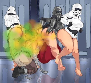 COMMISSION: Captain Phasma farting on Rey by Lazei