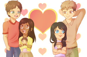 Collab - SnK OCs - Eren, Katia, Rose and Jean by Lau-Rose