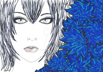 Woman Face and Flowers by Ja-chan-Ichigo