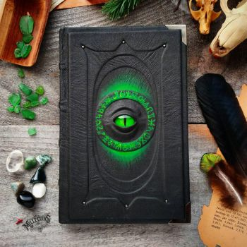 Dark book with green glow by MilleCuirs