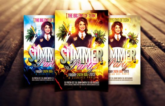 End of Term Summer Party Flyer Template by Dannygdesigns