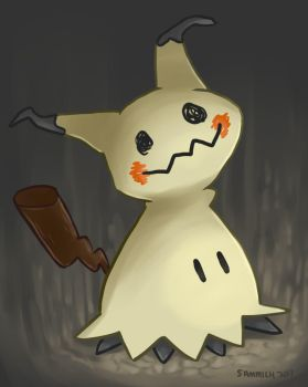 Mimikyu in the darkness by sammich