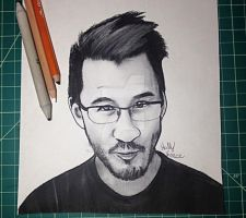 Markiplier Charcoal Portrait by HollyKPortraits