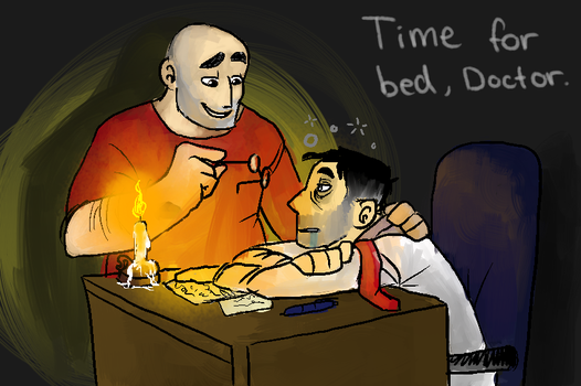 Medic shouldnt sleep at desk, will give bag pain by Thea0605