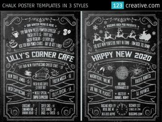 Chalk Poster in 3 styles Halloween, New Year, Menu by 123creative