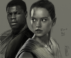 Star Wars: Finn and Rey Pencil by ChrisPendergraft