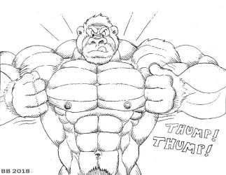 Muscle Gorilla sketch by Blathering