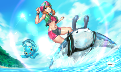 May Mantine Surfing with Manaphy by JittWolfProductions