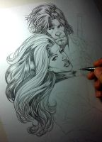 WIP Rogue and Gambit by MARCIOABREU7