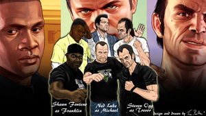 GTA V Three guys real and virtual wallpaper by TinaPanther