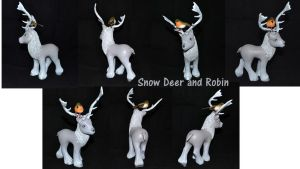 Snow Deer and Robin by Soulren