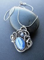 kyanite wire wrapped necklace by annie-jewelry