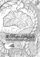 Water Dragons (The Fantasy Colouring Book) by megcowley